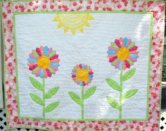 Beautiful Dresden Flowers Handmade Baby Quilt, Baby Girl Quilt, Wall Hanging, Handmade Baby Girl Quilt