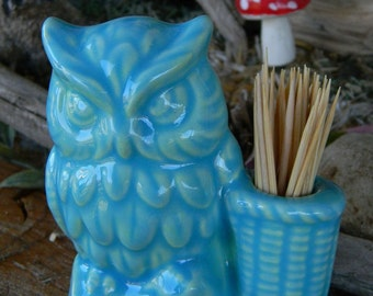 Owl Ceramic Tooth Pick Holder  Turquoise  from vintage mold  or  pen holder desk decor