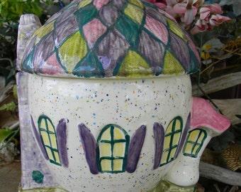 Fairy House  Enchanted Acorn  Ceramic  Gnome Garden  Chalet Home  kit = Wheelbarrow, star wand, pumpkin , Stepping stones   In Glitter Glaze
