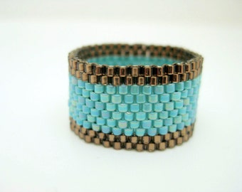 Peyote Ring / Beaded Ring in Brown and Turquoise / Seed Bead Ring / Delica Ring / Beadwoven Ring / Size 4, 5, 6, 7, 8, 9, 10, 11, 12, 13