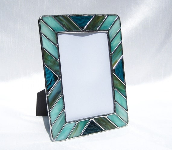 stained glass picture frame shades of turquoise frame 5 x 7