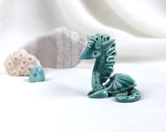 Tiny turquoise Dragon - unique Hand Made Ceramic Eco-Friendly Home Decor by studio Vishnya