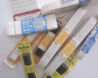 10 Packages Mostly Vintage Sewing Elastic, Non-Roll and Braid