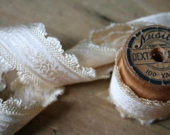 Cream Embossed Floral Satin TRIM, RIBBON - 2 Yards Plus