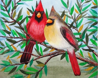 Mr. & Mrs. Cardinal, Original Watercolor Print