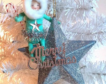 SALE Spun Cotton Ornament Santa Star