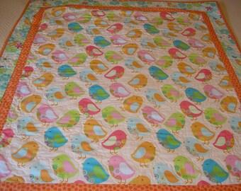 Baby Quilt, Modern Birds,  39 x 44 inches
