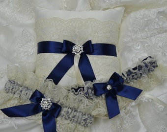 Wedding Garter And Ringbearer Set- Ivory And Navy Blue Garter And Ring Pillow