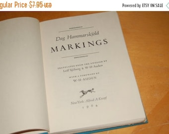 SALE....... Dag Hammarskjold MARKINGS Translated from the Swedish by Leif Sjoberg & W H Auden with a Foreword by W H Auden - Vintage Hardbac