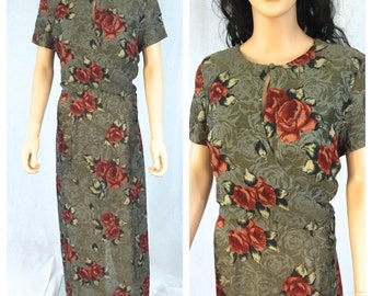 Vintage Floral Dress. Long Maxi Dress. Carole Little. Rayon Dress. Size 14. Large X-Large. Red Roses. Summer Short Sleeve Dress. Under 30.