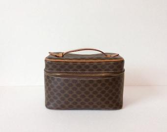 Vintage Celine train case // small makeup bag  // 1980's designer cosmetic purse