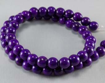 Round Howlite - Dark Purple - 8mm - sold per strand - #1B177