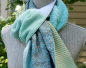 Recycled cashmere and silk scarf.  Soft blues and greens.  Silk is from vintage kimono stock