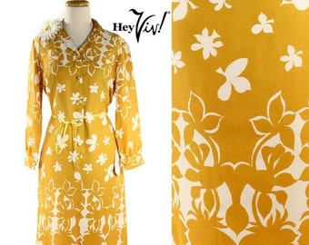 ON SALE 1960s 1970s Mod Shirt Dress - Bold Graphic Floral Print in Mustard Yellow & White Vintage Day Dress - size Medium