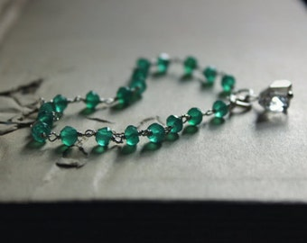 The Nimue Bracelet. Rustic Bohemian Sterling Silver, Green Agate and Herkimer Diamond Bracelet.