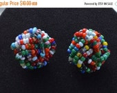 On Sale Pretty Vintage Multi-Colored Glass Seed Bead Clip Earrings, Silver one (X13)