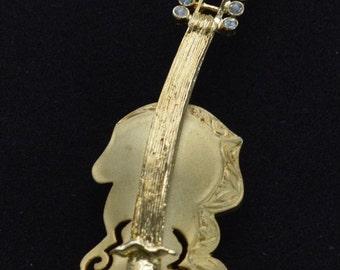 "On sale Pretty Vintage Brushed Gold tone Cello Instrument Brooch, Rhinestones, ""Tona"" (K14)"