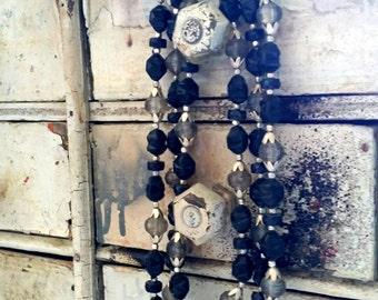 Beautiful vintage black grey silver multi-strand necklace