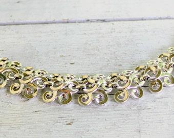 TRIFARI Bracelet Silver Tone Scroll Design 1960s