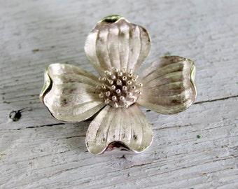 TRIFARI Blossom Brooch Silver Tone Signed Vintage