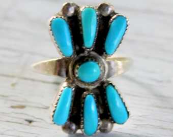 TURQUOISE Zuni Sterling silver Ring Vintage Native American
