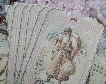 Vintage Shabby Cottage Chic Santa Christmas Tags - Set of 6 or Set of 9