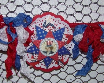 4th of July Decoration Banner Garland July 4th Patriotic Americana Vintage Style Banner Garland Decoration