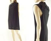 1960s Cocktail Dress, Mod Black Dress, Vintage 60s LBD, 60s Party Dress, Racer Back Dress, Sequin A Line Dress, , High Collar Dress, s