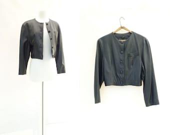 Black Leather Jacket Vintage 80s Leather Cropped Black Jacket Made in Italy Jacket Collarless Leather 80s Vintage Jacket s