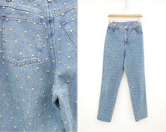80s Vintage Jeans Studded Jeans High Waist Jeans 1980s Skinny Jeans Light Wash Jeans 80s Mom Jeans All Over Studded 1980s Vintage Jeans, 28