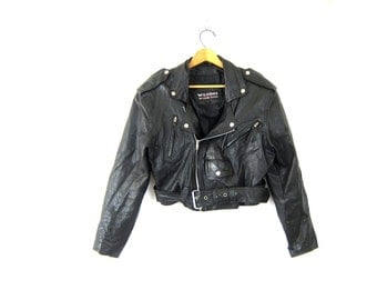 Vintage cropped motorcycle jacket Wilsons leather moto coat black buckled biker zip up jacket Womens size Small Dell's