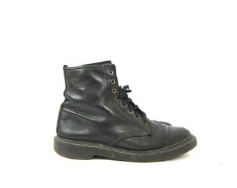 vintage black leather heavy duty chunky Air wair cushion soles Doc Martens ankle boots Men's Size Dell's Made in England