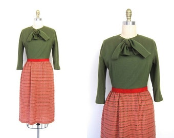 1950s Pink and Olive Green Wiggle Dress Tweed 50s Woven Tweed Wool Midi Pencil Skirt 1950s Prep School Mod Modern Womens Small