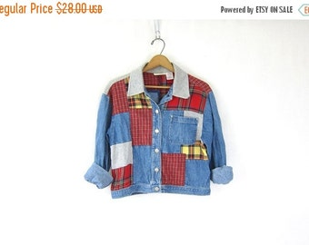 cropped Jean Jacket. Patchwork denim jacket 90s Womens cotton coat jacket Preppy hipster Urban Street Red fabric Patches Women's size small