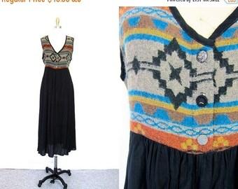 Southwestern Dress long 90s Tribal BOHO dress Ethnic slouchy slip Ikat Print Frock Dress Empire Waist Vintage Medium Large