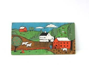 Vintage Folk Art Painting Farm Country Cabin decor On Wood Nature Outside Farming Rustic Hillside Cows Barns Cottage Chic