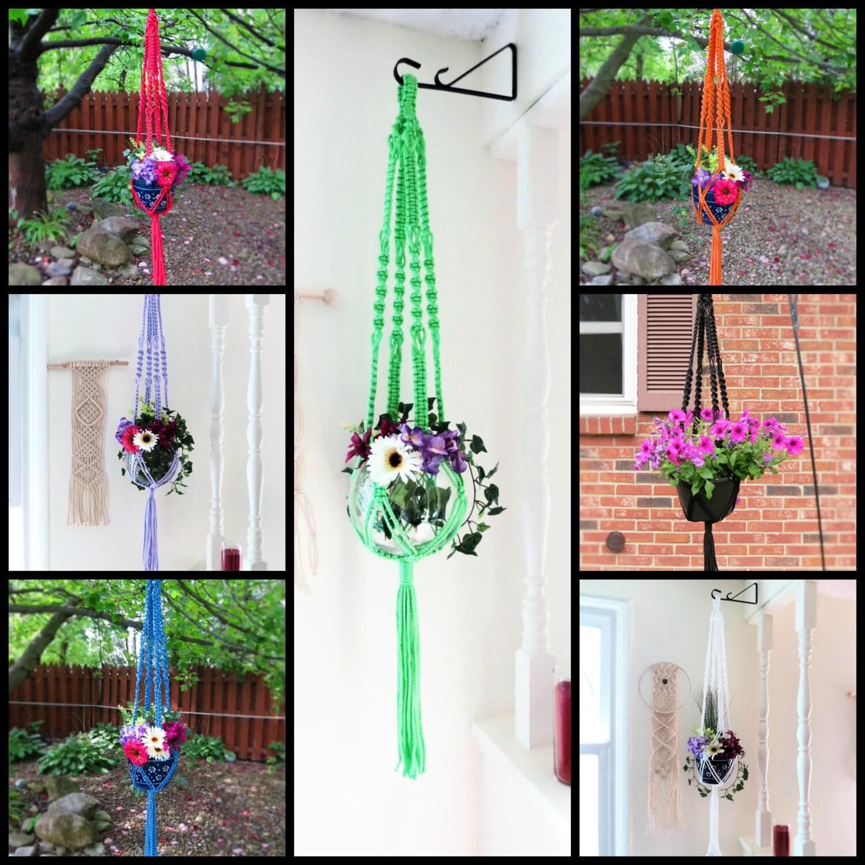 Boho hanging planter macrame hanging planter colorful for Colorful hanging planters