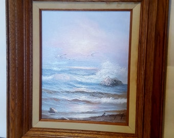 Impressionist Oil Painting on Canvas and Framed Vintage  SIGNED ANN MURPHY Sea Weaves Ocean Decoration Art Crushing Waves Sea