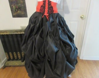 Black taffeta very full 10 yard  Victorian witch pirate steampunk costume skirt S, med large  xl plus size  2xl, 3xl, 4xl adjustable waist
