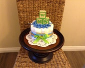 Upgrade Baby Block Diaper Cake baby shower centerpieces blue and green other colors and sizes too
