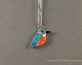 Little Porcelain Kingfisher Bird Sterling Silver Necklace - Miniature Tiny Ceramic Animal Nature Handmade Jewelry
