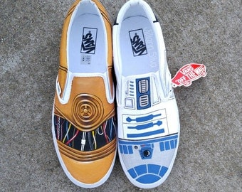 SALE! Star Wars R2D2 / C3P0 SLiP On Vans - Made to Order for Anyone!