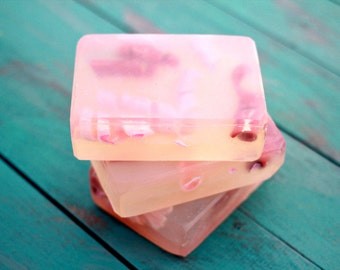 Japanese Cherry Blossom Soap Bar, Glycerin Soap, Handmade Soap, Soap for spring, Red soap, Pink Soap, Clear Soap, Scented Soap, Guest Soap