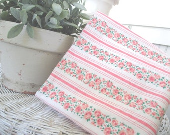 Vintage Feather Pillow Ticking Fabric * PINK * Shabby Cottage Farmhouse