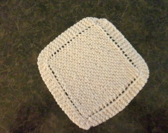 Hand Knit Dishcloth - measures approximately 9x9 inches