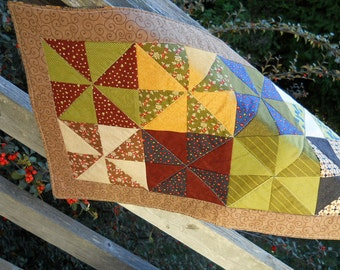table quilt Country colors home décor PinWheel table runner Fall table runner Rustic table décor Farmhouse tablerunner quilt  Made in USA