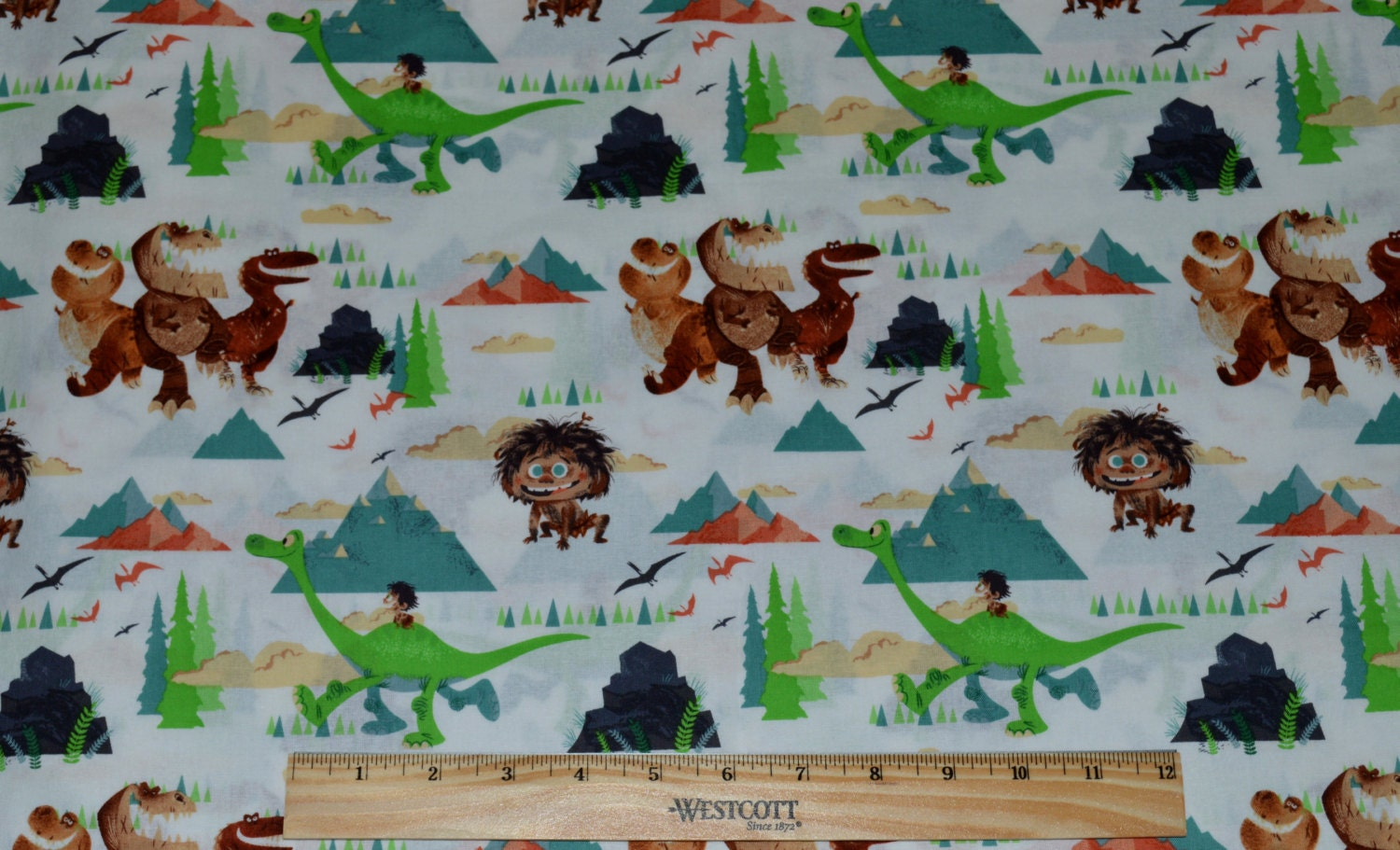 Good dinosaurs fabric by the half yard for quilting for Dinosaur fabric