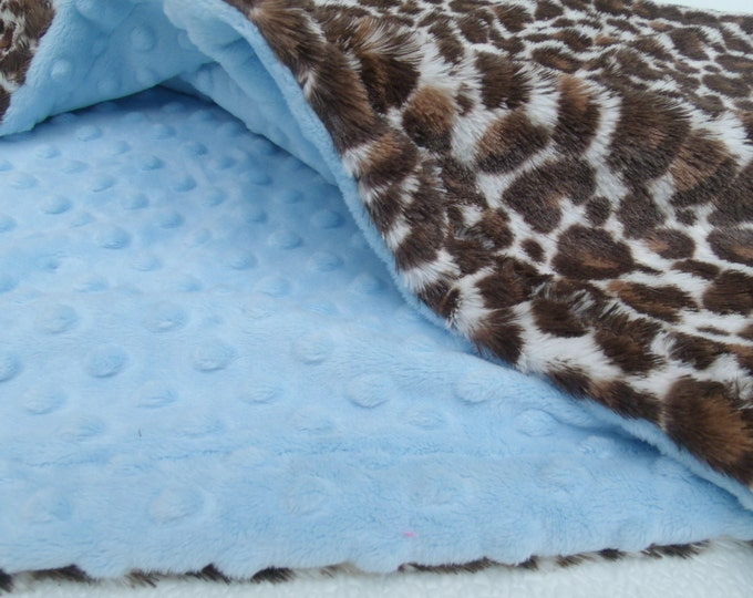 Blue and Brown Leopard Minky Baby Blanket, Blue Minky Dot and Animal Print Baby Blanket,  Minky Blanket
