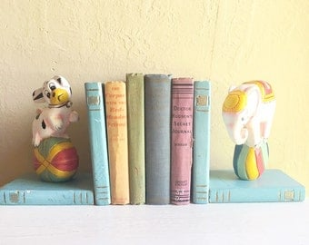 Vintage Chippy Painted Wood Bookends Child's Room Animals Book Holder Pair