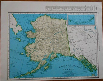 Vintage Alaska Map 1947 Us State Atlas Map Old Maps For Wall Art